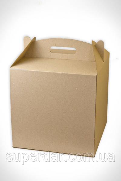 Коробка для торта, 300*300*300 мм., бурая