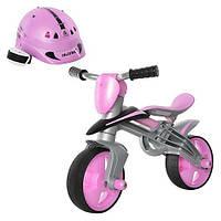 Мотоцикл каталка беговел с шлемом JUMPER розовый Injusa 502