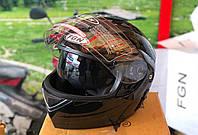 Шлем FGN трансформер с очками, черный глянцевый