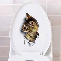 Наклейка стикер WC кот на унитаз,дверь 16см*24см