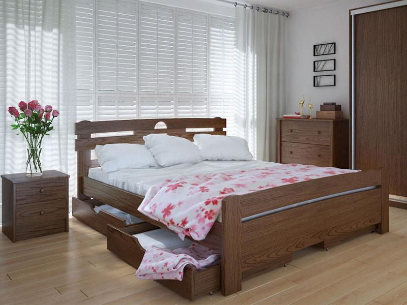 Кровать MeblikOff Кантри плюс с ящиками (120*190) дуб