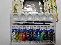 Краски акварельные 12цв. в тубах по 6мл.+2кисточки+палитра BARROCO