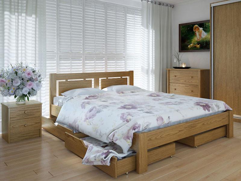 Кровать MeblikOff Пальмира с ящиками (140*200) дуб