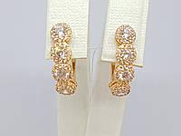 Золоті сережки з фіанітами. Артикул СВ818(В)І, фото 1