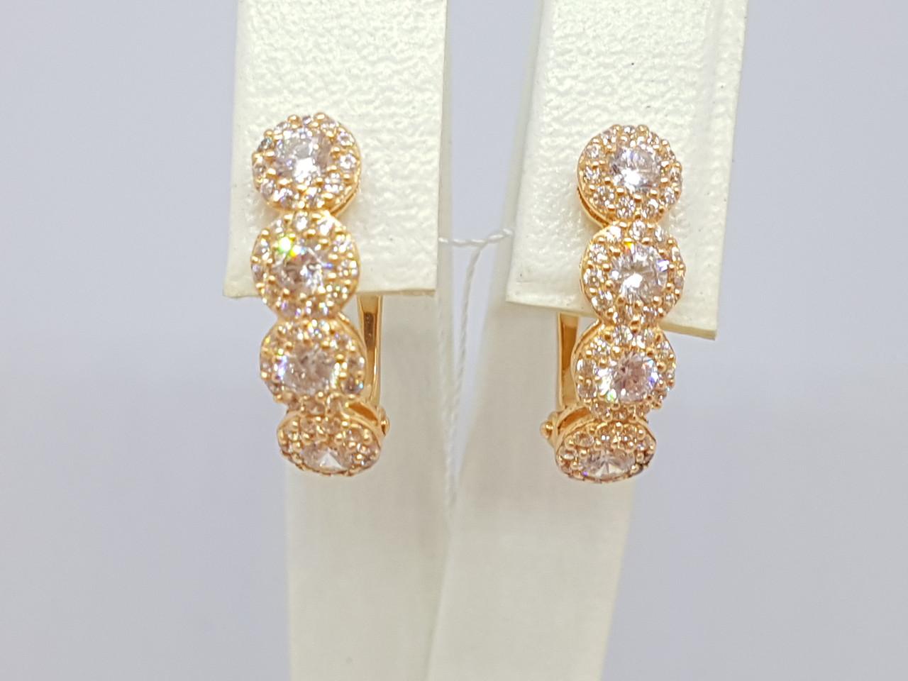 Золотые серьги с фианитами. Артикул СВ818(В)И