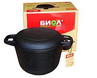 Кастрюля чугунная с крышкой-сковородой 6 л Биол 0206