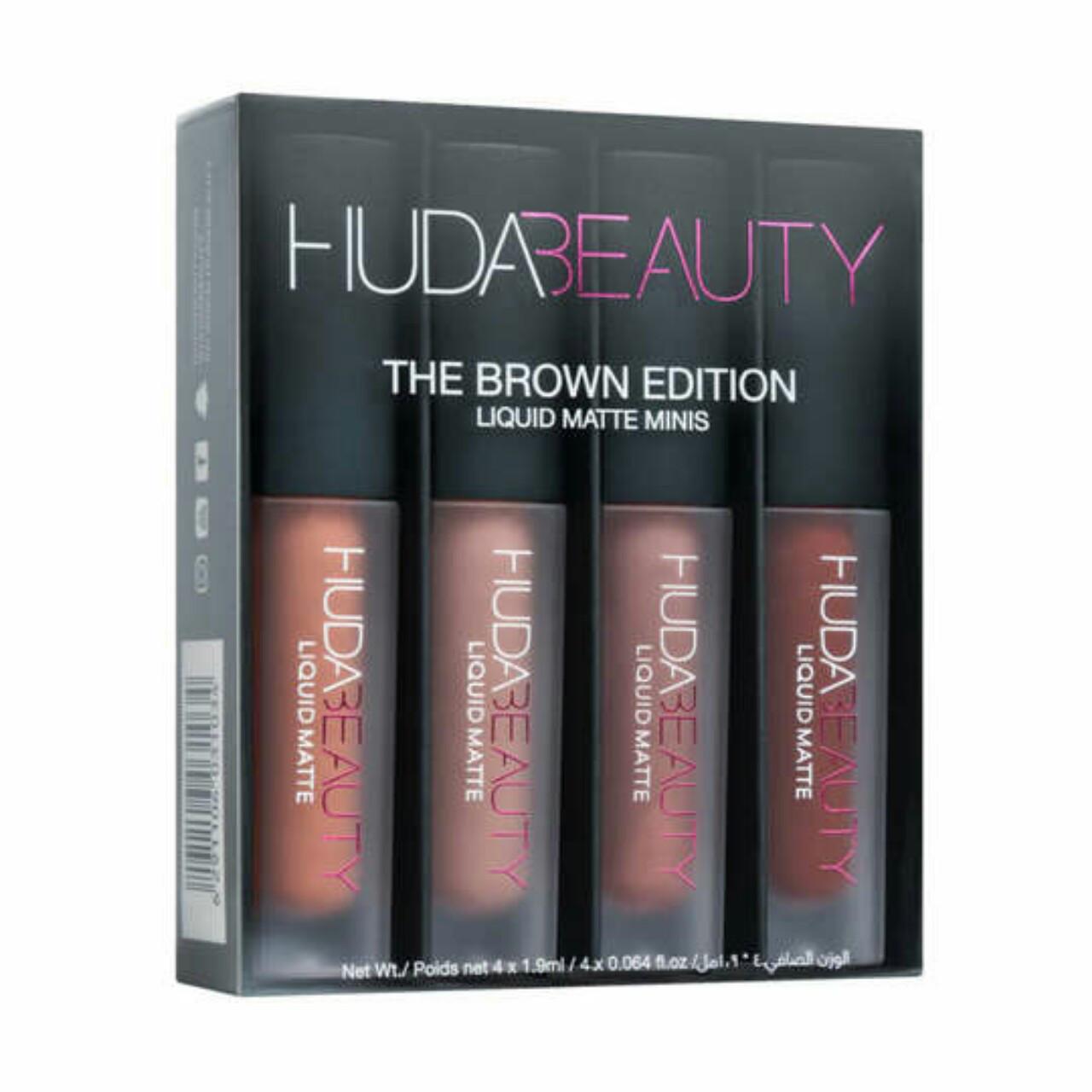 Набор жидких матовых помад Huda Beauty Liquid Matte Lipstick The Brown Edition