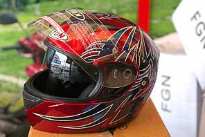 Шлем FGN трансформер с очками, красный с синим
