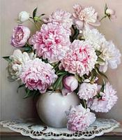 Картина для рисования по номерам, ваза с пионами 40х50 см.