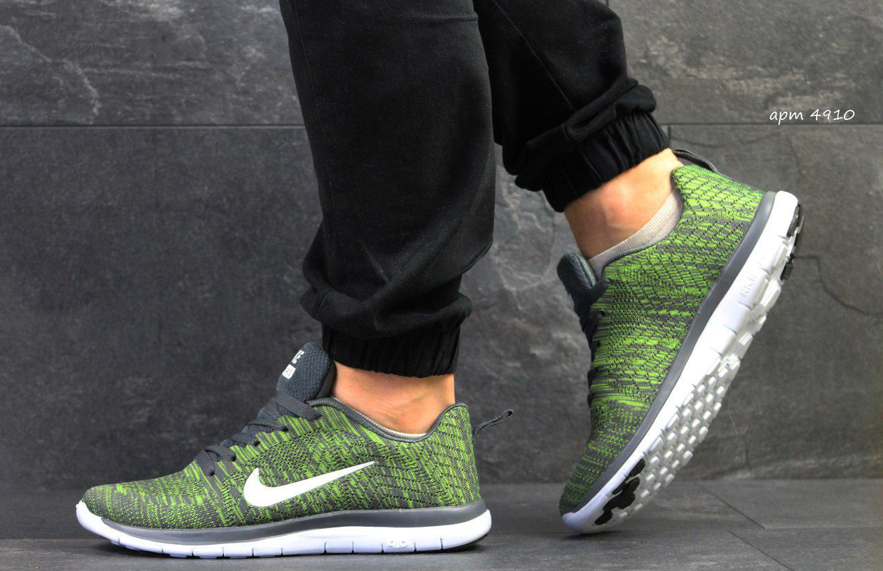 Мужские кроссовки Nike Free Run 4.0,сетка,зеленые 43р