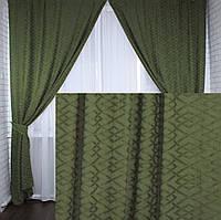 Комплект готовых штор из льна.Цвет оливковый.Код  222ш