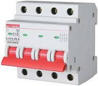 Модульний автоматичний вимикач e.mcb.stand.45.4.C10, 4р, 10А, C, 4.5 кА