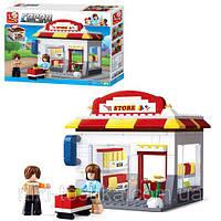 Детский конструктор SLUBAN M38-B0571, магазин, тележка, фигурки, 186 деталей
