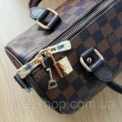 Сумка Louis Vuitton Speedy Mini кожа 25 см,коричневая шахматка, фото 3