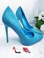 Голубые замшевые туфли женские в  наличии