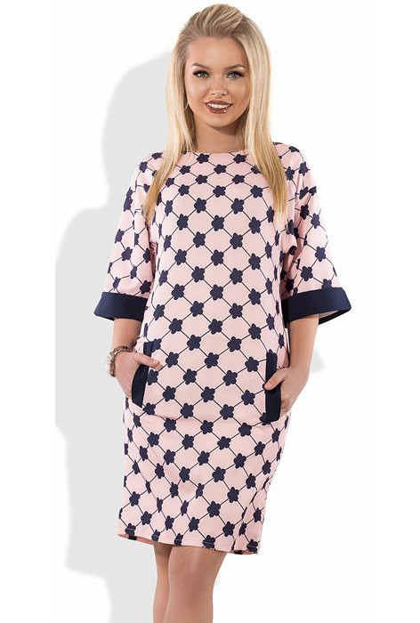 Розовое оригинальное платье Д-1059
