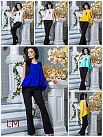 Блузка Ханни М,L,XL,XXL женская летняя батал свободная бежевая белая на работу синяя из cофта