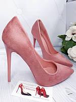 Розовые,пудровые  замшевые туфли женские в  наличии