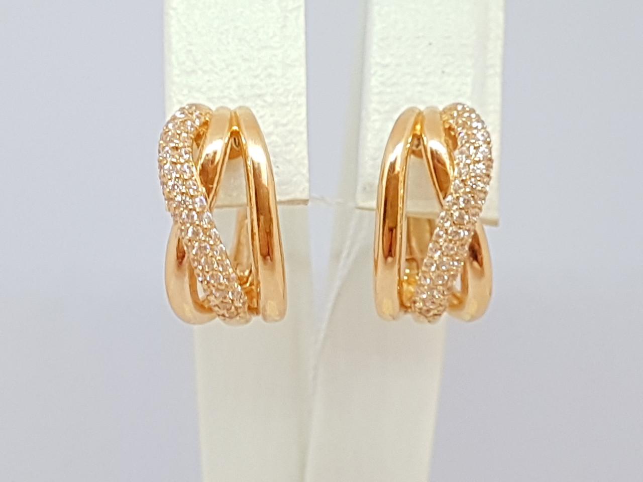 Золотые серьги с фианитами. Артикул СВ743И