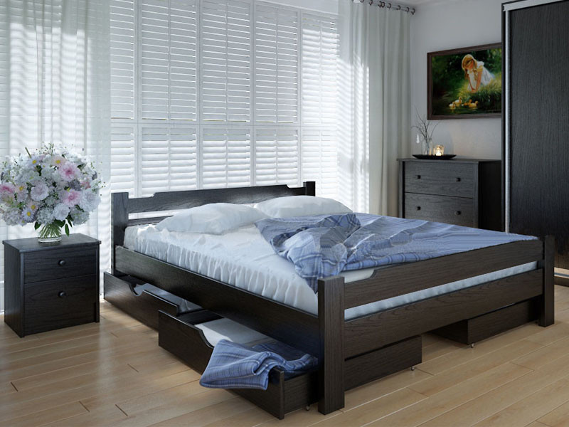 Кровать MeblikOff Сакура с ящиками (120*190) дуб