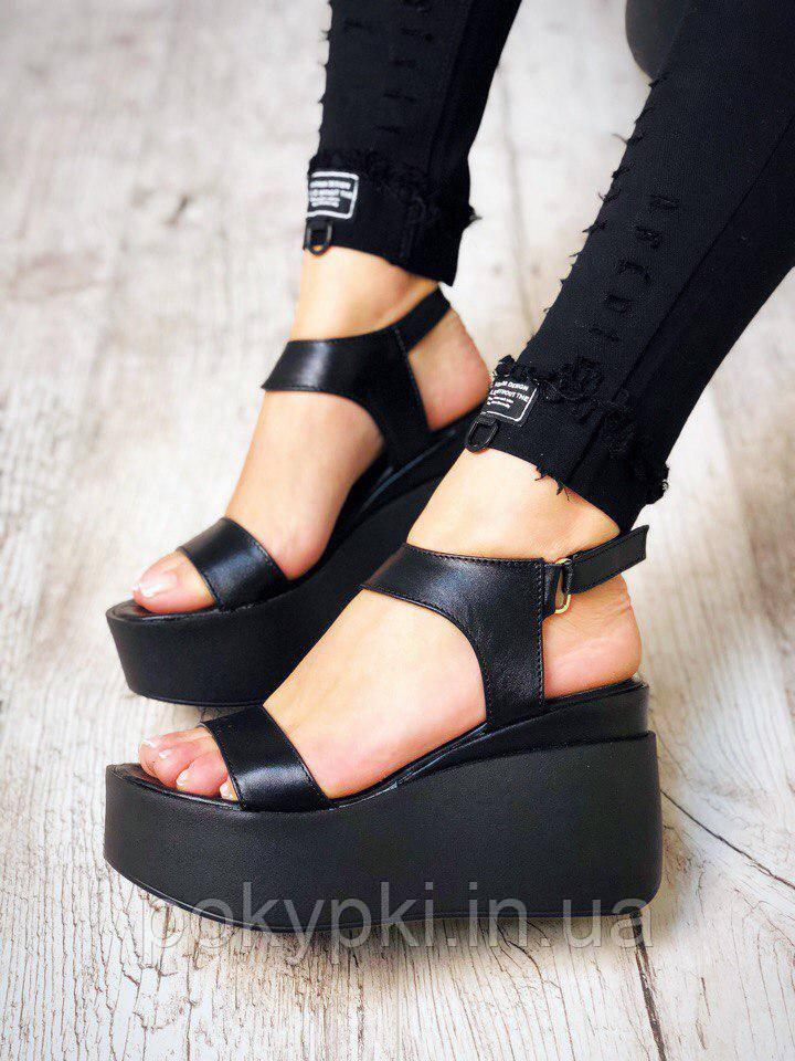 8eb3fc423 Модные босоножки из натуральной кожи на платформе черные -