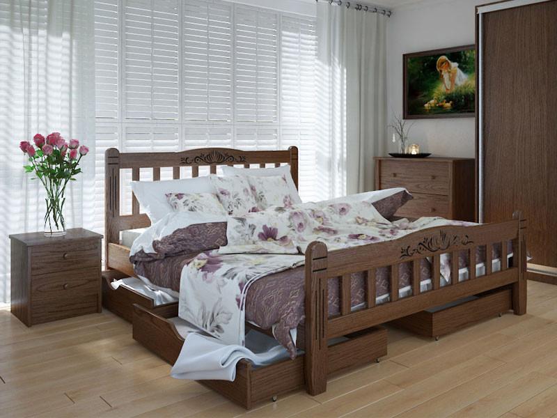 Кровать MeblikOff Луизиана Люкс с ящиками (140*190) ясень