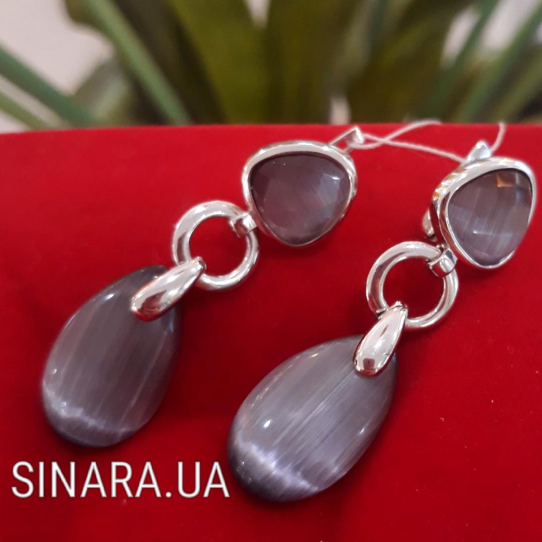 Серебряные серьги с улекситом