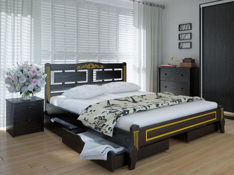 Кровать MeblikOff Пальмира Люкс с ящиками (180*190) ясень