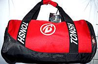 Универсальная спортивная красная сумка бочонок с черными ручками 46*26 см
