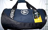 Универсальная спортивная синяя сумка бочонок с черными ручками 46*26 см