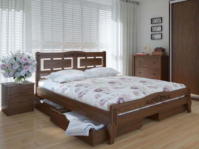 Кровать MeblikOff Пальмира Люкс Плюс с ящиками (140*190) ясень