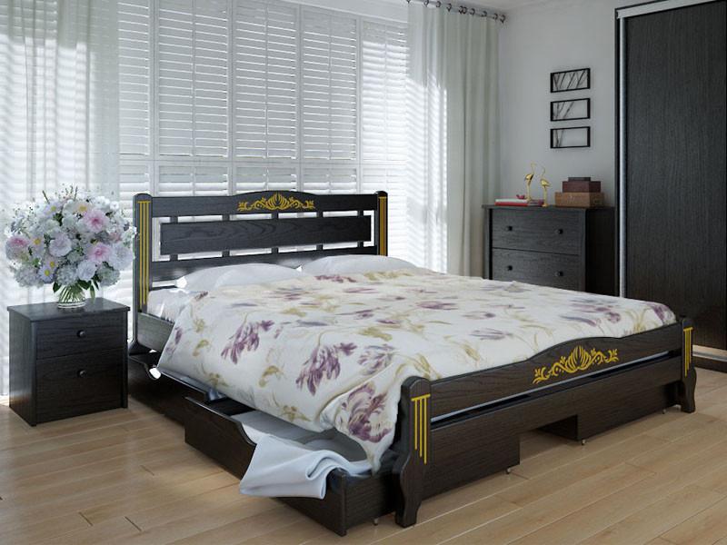 Кровать MeblikOff Осака Люкс Плюс с ящиками (140*200) дуб