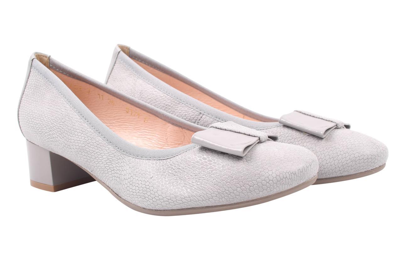 Туфли женские Bioecco нубук, натуральная лаковая кожа, цвет серый (каблук, стильные, весна\осень, Польша)
