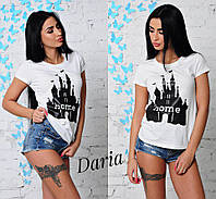 Женская футболка из х/б трикотажа декорированная накатом 42-44 р Home