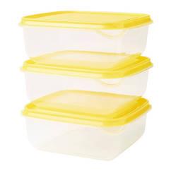 Набор контейнеров для продуктов IKEA PRUTA 3 шт 0.6 л желтый прозрачный 903.358.43