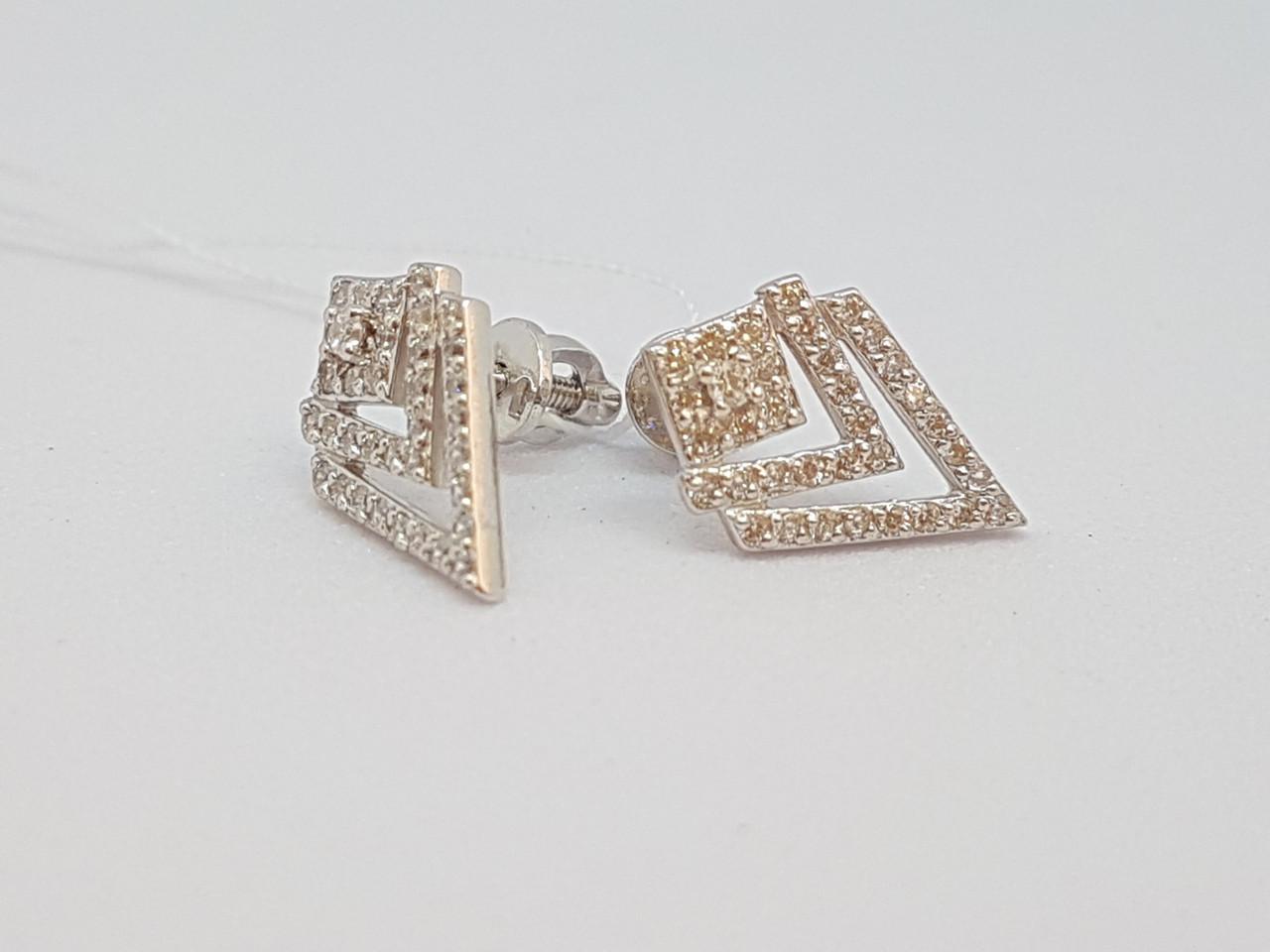 Серебряные пуссеты с фианитами. Артикул 500296-СПР