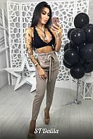 Женские брюки бежевого цвета с завышенной талией ткань костюмка