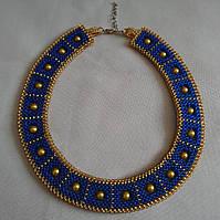 """Колье из бисера синее с золотым """"Египетская царица"""", фото 1"""