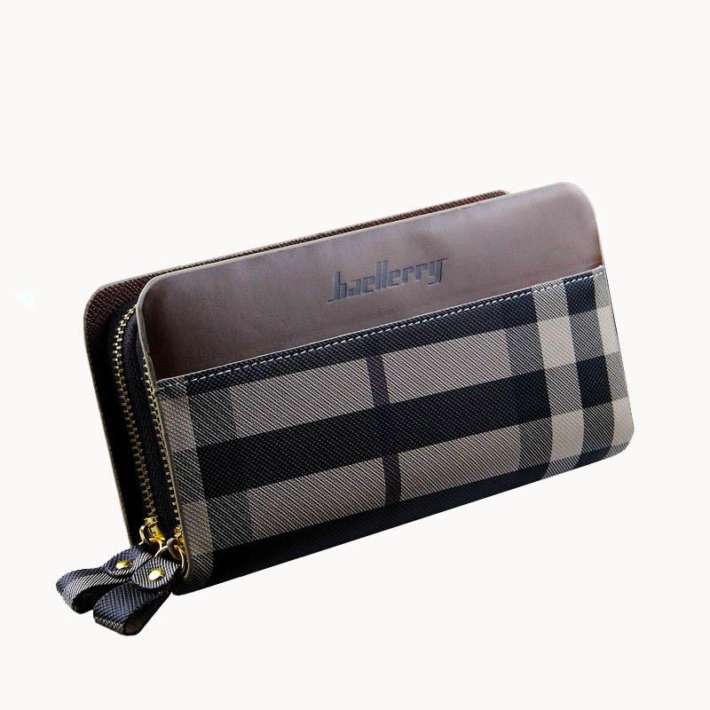 Мужской клатч портмоне BAELLERRY Business Style Мужской клатч портмоне на 2 молнии, узор, Коричневый (SUN0247)