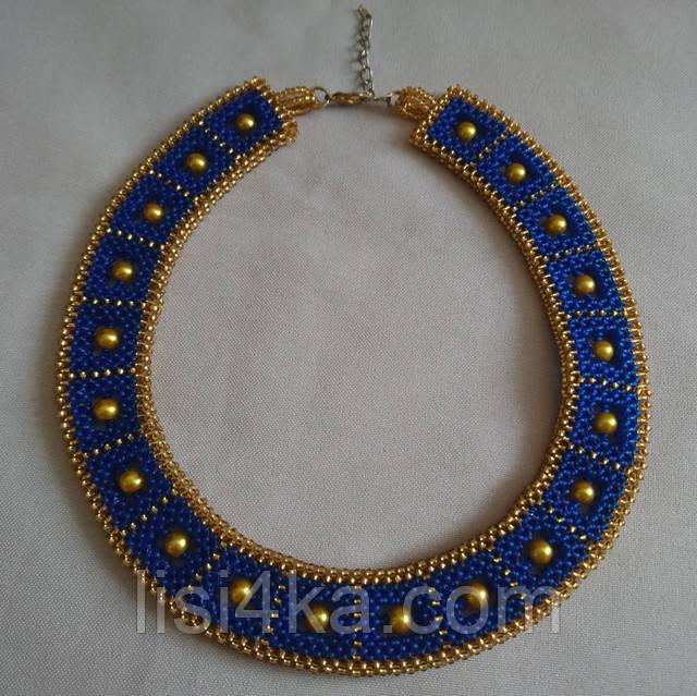 Сине-золотое колье в египетским стиле