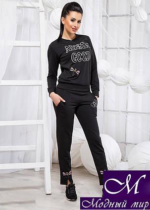 Женский черный спортивный костюм со стразами (р. 42, 44, 46) арт. 19290, фото 2