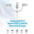 Кабель Promate uniLink-Trio Lightning/Micro-USB/USB Type-C - USB Silver, фото 2