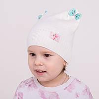Весенняя детская шапка с ушками для девочки - Арт 0970