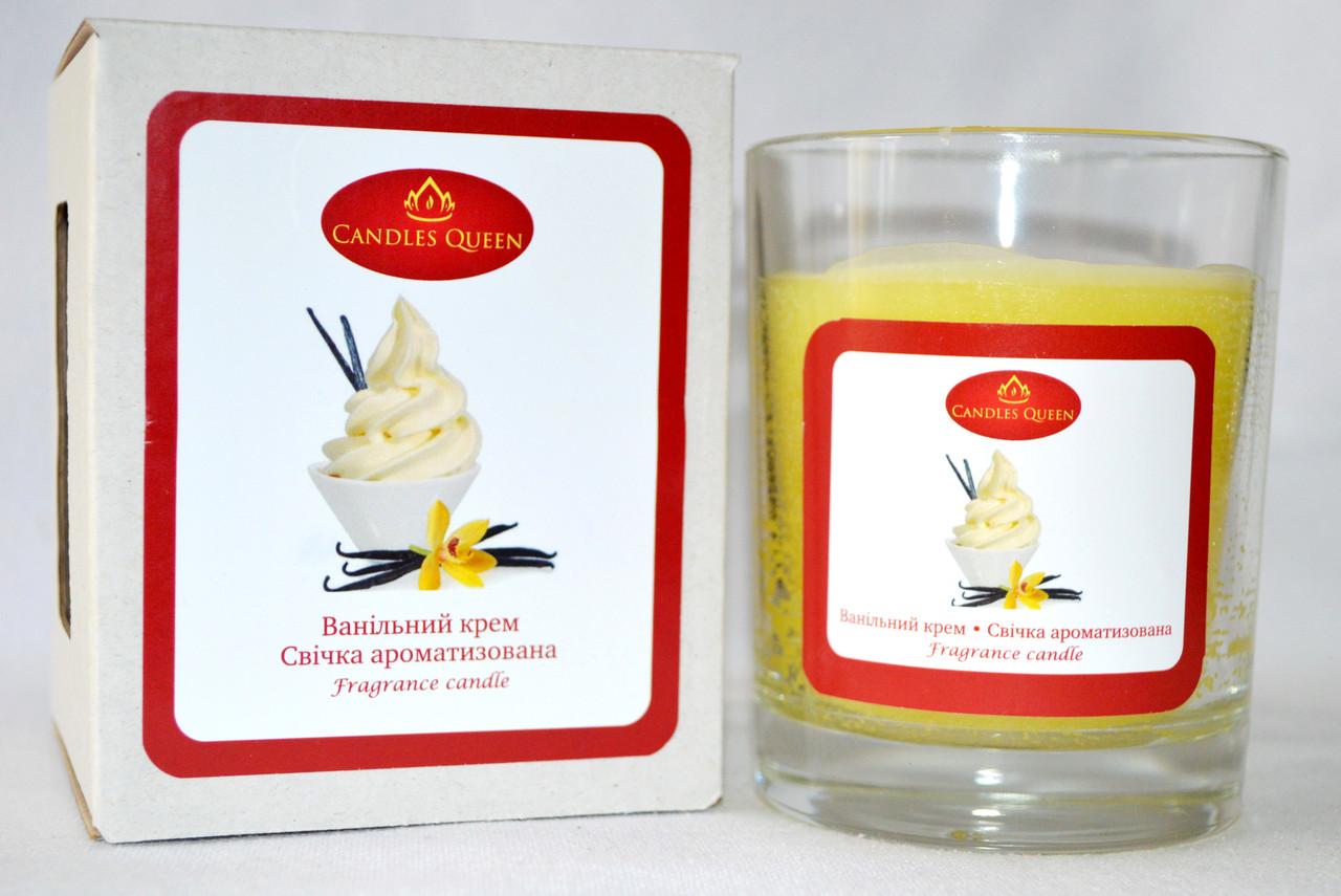 Свеча с ароматом ванильного крема. Свеча ароматическая в стакане