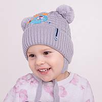 Детская весенняя шапка с помпонами для девочек - Арт 1166