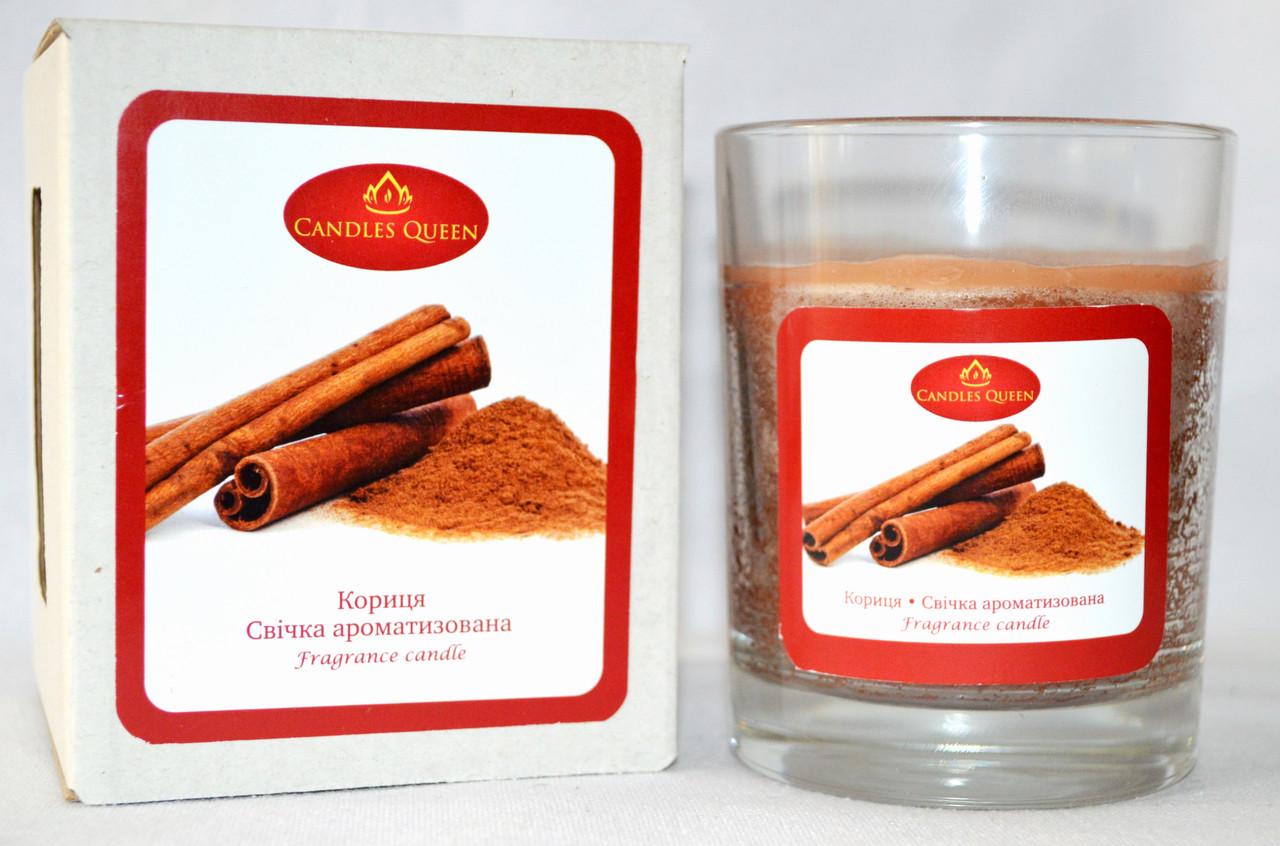 Свеча с ароматом корицы. Свеча ароматическая в стекле