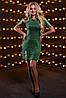 Модное Короткое Платье Трикотажное на Весну Зеленое М-2XL