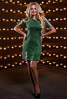 Модное Короткое Платье Трикотажное на Весну Зеленое М-2XL, фото 1