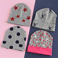 Трикотажная шапка для девочки с рисунком р.48-50