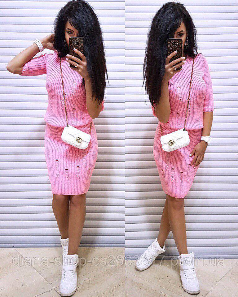 женский вязаный костюм розового цвета кофта юбка в категории
